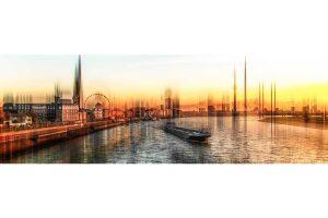Kunst Panorama Collage Düsseldorf Rhein | Moderne Fotokunst Made in Düsseldorf