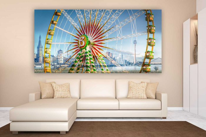 Collage zur Rheinkirmes Düsseldorf | Kunst Bild der größten Kirmes am Rhein