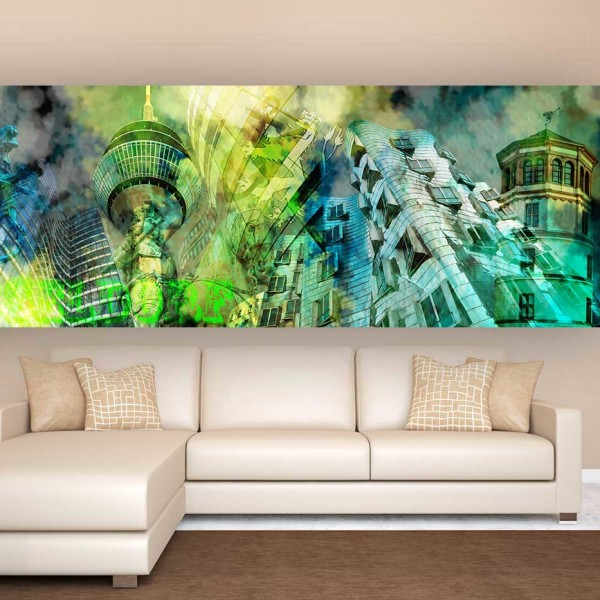 kunstbild d sseldorf collage d sseldorf panorama und skyline bilder f r kunst liebhaber. Black Bedroom Furniture Sets. Home Design Ideas