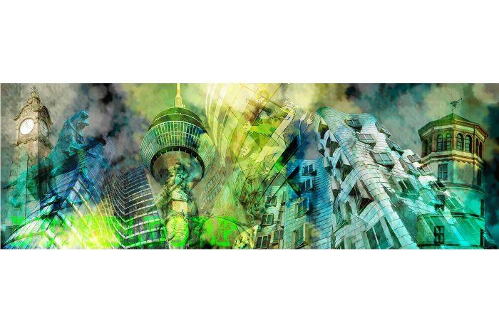 Kunstbild Düsseldorf Kunst Collage |Düsseldorf Panorama und Skyline Bilder für Kunst Liebhaber