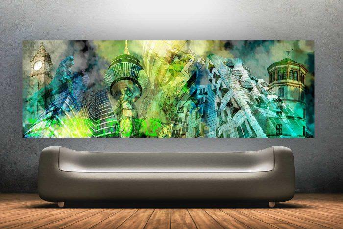 Düsseldorfer Kunst Collage |Düsseldorf Panorama und Skyline Bilder für Kunst Liebhaber