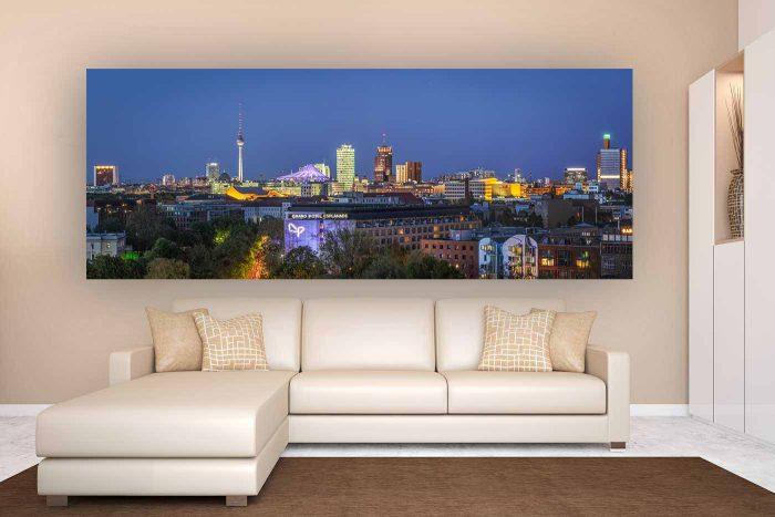 Berlin Panorama Skyline Bild bei Nacht |Kunst Panorama Berlin, Skyline Berlin Fotokunst