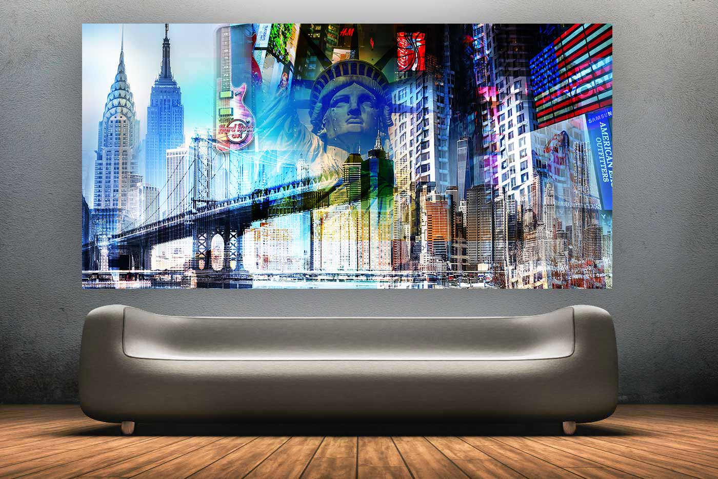 new york collage im xl panorama kunst format f r die wand. Black Bedroom Furniture Sets. Home Design Ideas