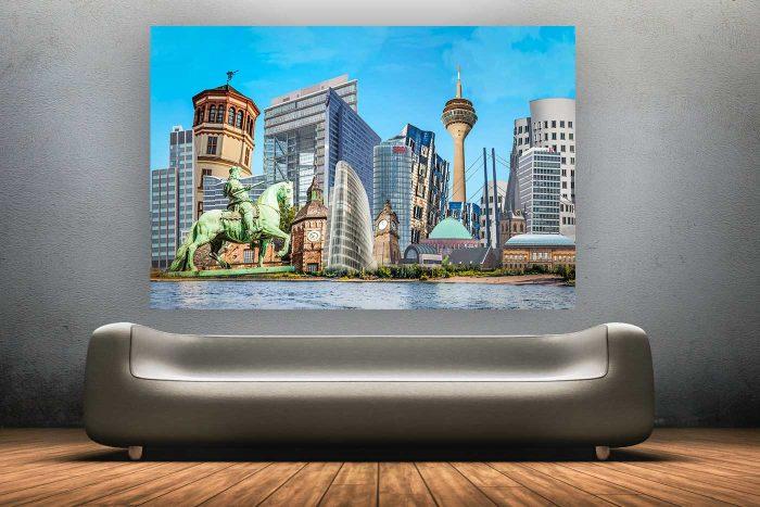 Düsseldorf,It's your Town | Kunst Collage im XXL Panorama Format